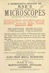 Advert for Rae's Microscopes